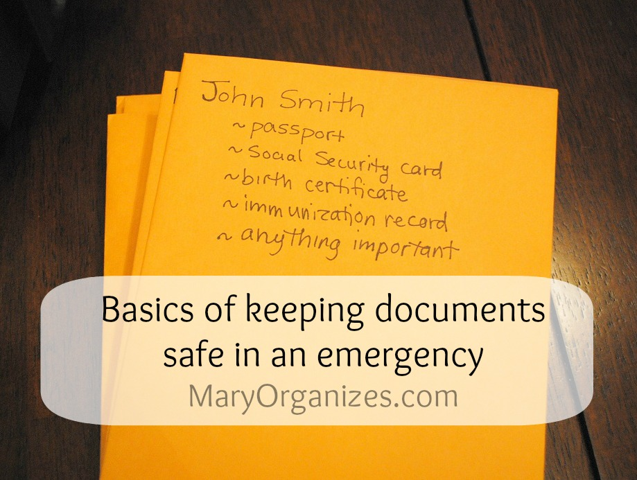 basics of keeping documents safe in an emergency