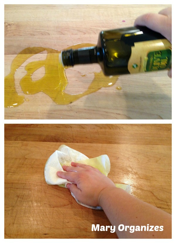 Prepare kneading surface for dough with olive oil