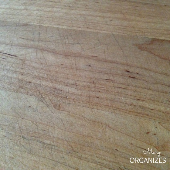 I like an aged butcher block surface that shows natural wear and tear from real usage