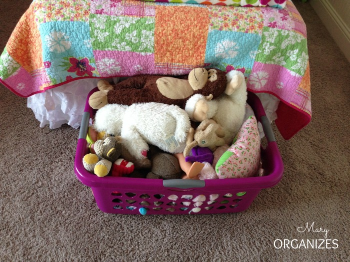 Stuffed Animal Storage in a clothes basket