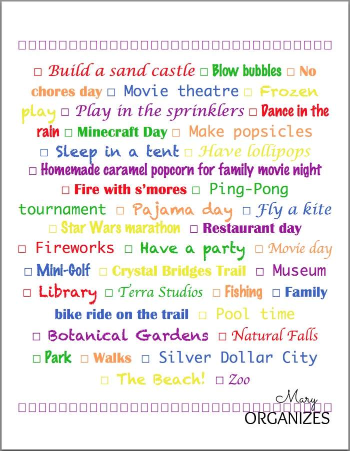 2014 Summer Fun Bucket List