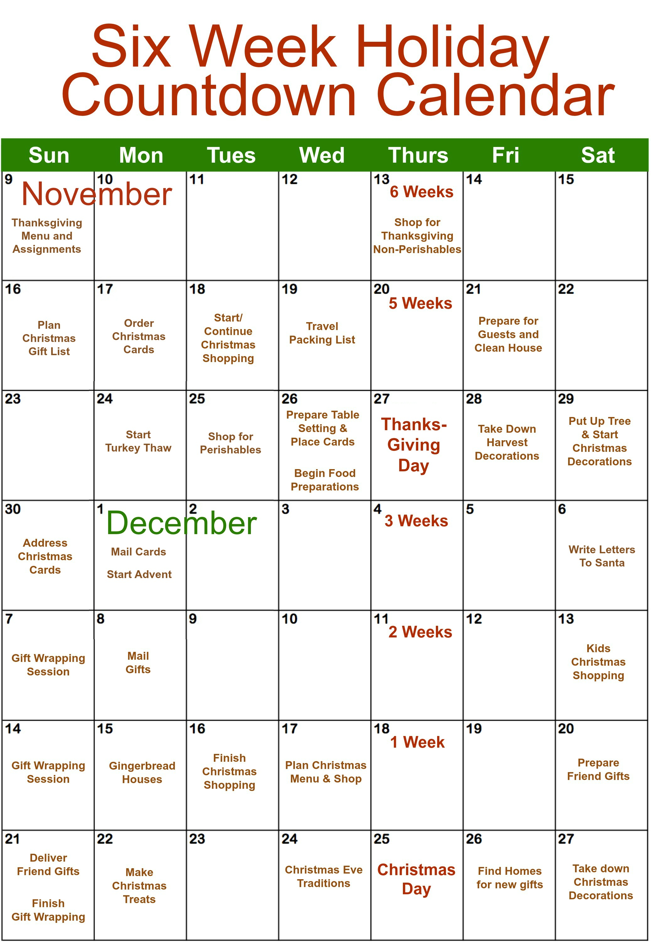 Six Week Holiday Countdown Calendar