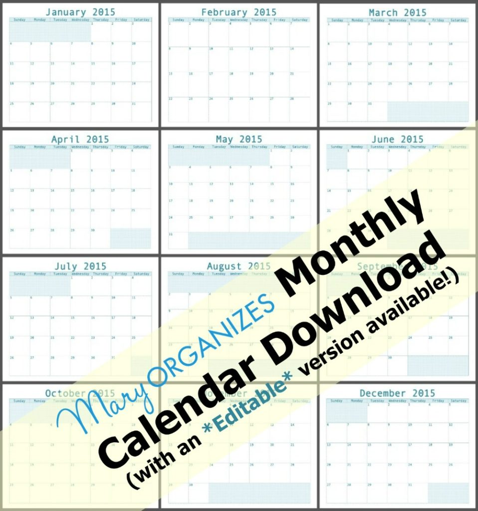 Monthly Calendar Download - All months