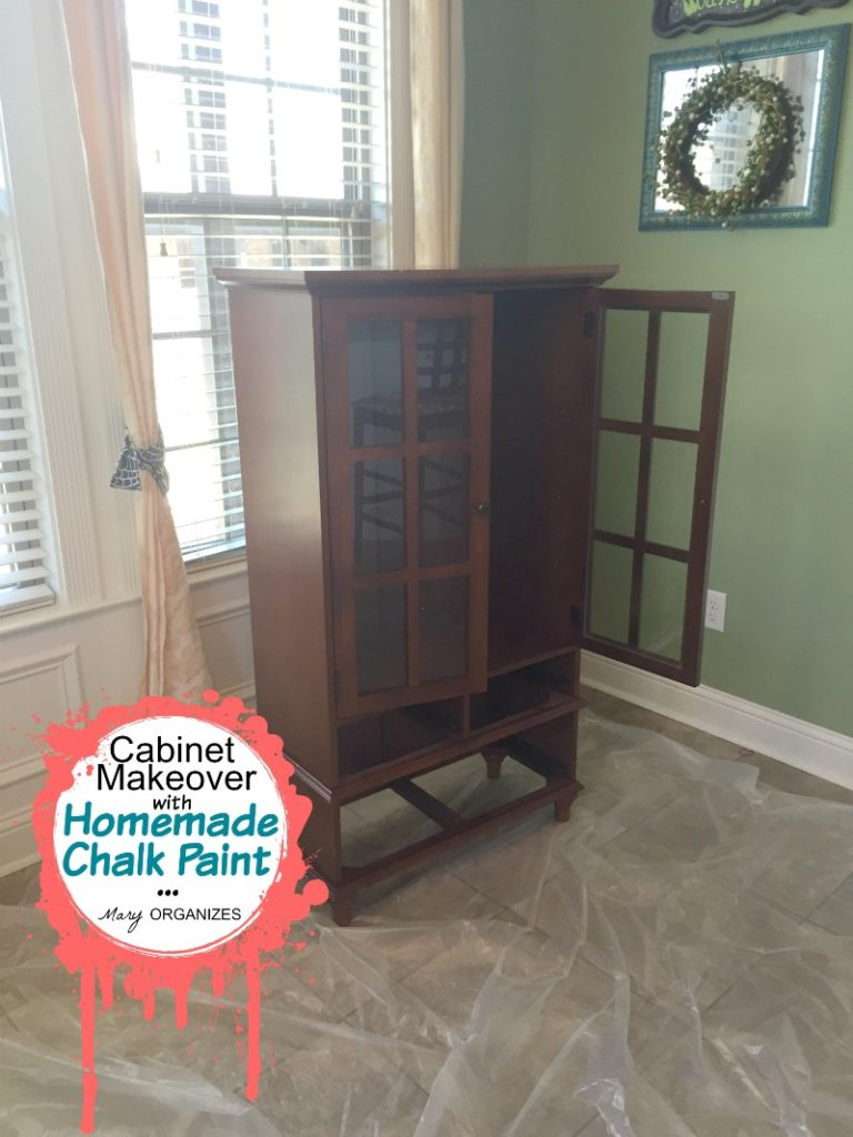 Cabinet Makeover with Homemade Chalk Paint - ready to paint