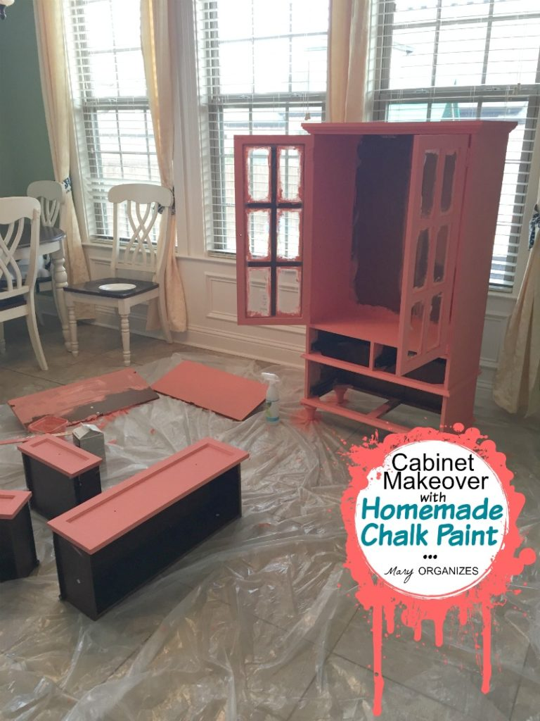 Cabinet Makeover with Homemade Chalk Paint - sanded