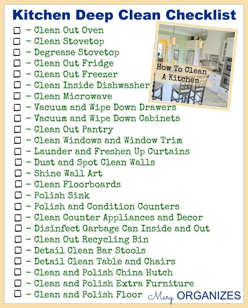 Restaurant kitchen cleaning checklist