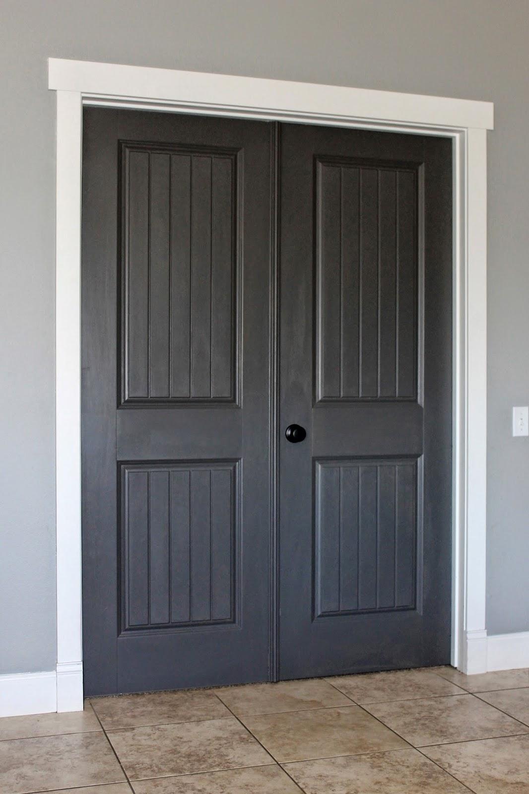 Gray door white trim 01 for Best black paint for interior doors