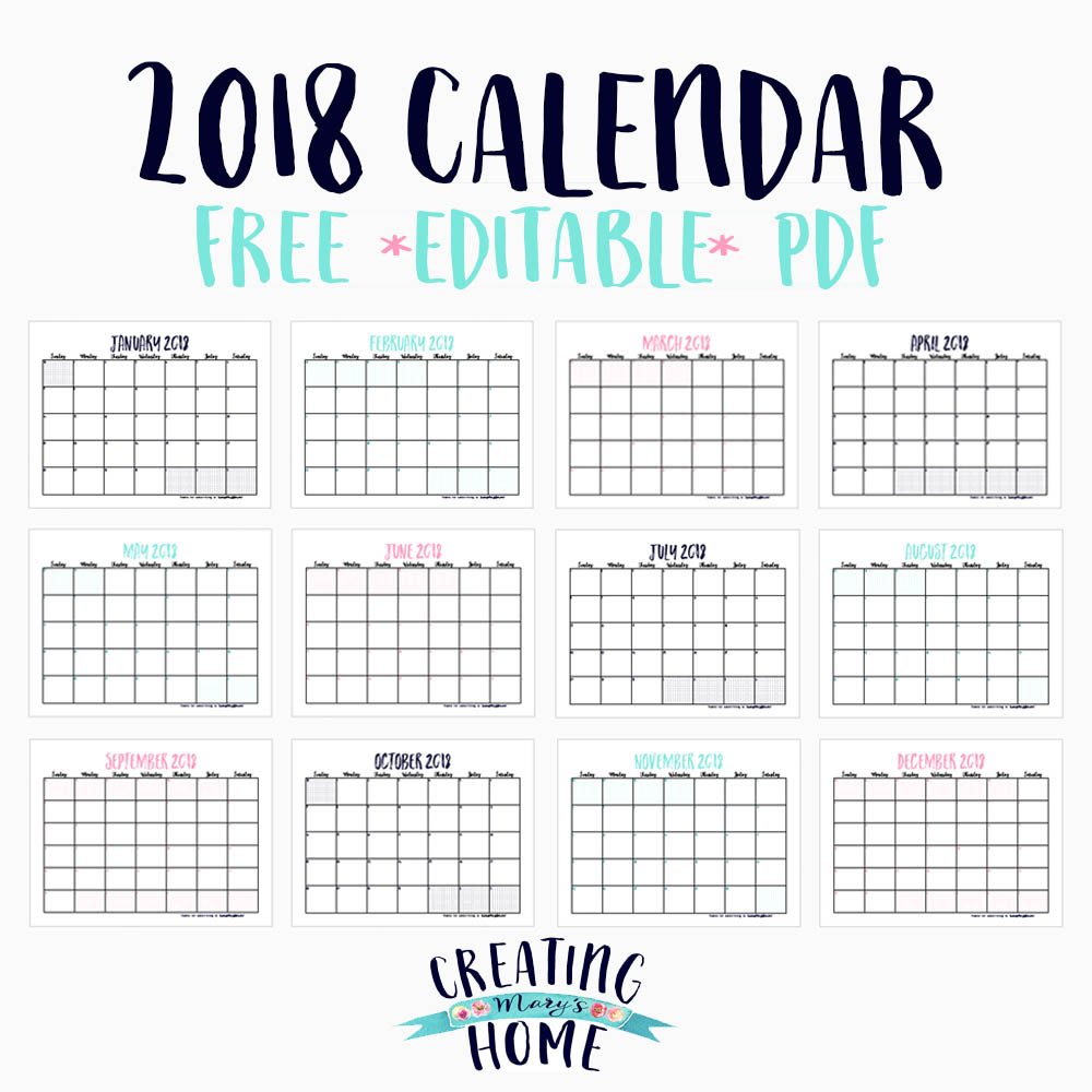 free 2018 calendar editable pdf creatingmaryshome com